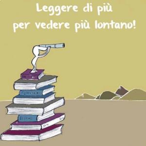 Vignetta: un uomo con un binocolo che scruta l'orizzonte in piedi sopra una pila di libri.